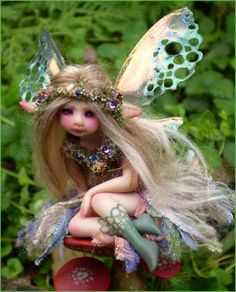 Mushroom Fairy by Celia Anne Harris ~ Polymer clay