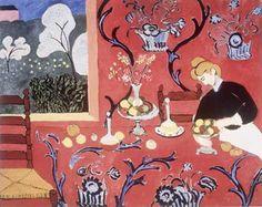 1908 _La Desserte rouge _huile sur toile _ Dimensions (H × L) 180 × 220 cm _ Localisation musée de l'Ermitage, Saint-Pétersbourg