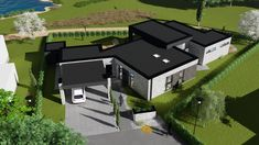 Villa i støvring Concrete Pavers, Bricks, Facade, Sims, Innovation, House Plans, New Homes, Villa, How To Plan
