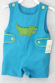 291486 Baby Clothes Baby Jon Jon Alligator John by ZuliKids 1st Birthday Outfit Boy, Baby Boy First Birthday, Baby Boy Outfits, Kids Outfits, Childrens Shop, Unique Baby Clothes, Baby Boy Romper, Baby Sewing, Toddler Boys
