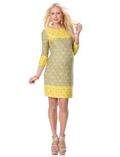Feel classy in a mod Yellow TAYLOR 3/4 Sleeve Sheath Maternity Dress from A PEA IN THE POD. Perfect for any Spring baby shower.