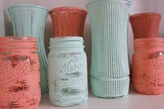 mason jars coral and aqua