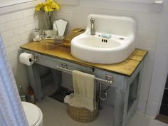 bathroom vanity made from potting table and vintage sink.If I ever change out the vanity in the powder room, this is going to be what I do! Diy Vanity, Diy Bathroom Vanity, Bathroom Renos, Small Bathroom, Basement Bathroom, Custom Vanity, Bathroom Ideas, Industrial Bathroom Vanity, Bathroom Pink