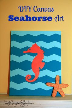 Channel the ocean with this DIY Canvas Seahorse Art using #ShapeTape via @southernscraps