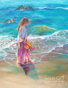 """""""Walking In The Waves"""" oil painting by Karen Chatham (framed art prints available)"""