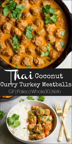 These Thai Coconut Curry Turkey Meatballs are such a fabulous dinner that is decadent, yet healthy. Curry spiced ground turkey meatballs smothered in a delicious creamy red curry coconut sauce that is Thai Coconut, Coconut Curry, Coconut Sauce, Paleo Recipes Easy, Whole 30 Recipes, Cooking Recipes, Ground Turkey Recipes Whole 30, Dinner With Ground Turkey, Ground Turkey Meals