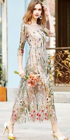 Stylewe Plus Size Apricot Maxi Dress Daytime Dress Sleeve Vintage  Embroidered Floral Dress d334a64a6b