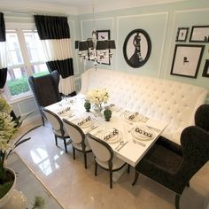 black and white banquette dining