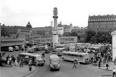 Linja-autoasema 1955 The Old Days, Old City, Photo Archive, Helsinki, Vintage Photography, Time Travel, Finland, Paris Skyline, 1950s