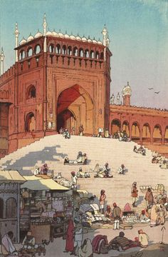 """Japanese Art Print """"Jami Masjid Delhi"""" from the India and Southeast Asia Series by Yoshida Hiroshi Japanese Prints, Japanese Art, Hiroshi Yoshida, Bd Art, Ligne Claire, Chef D Oeuvre, Woodblock Print, Asian Art, Fantasy Art"""