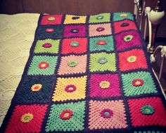 Colourfull crochet throw