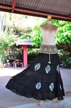 SATU SKIRT-Boho/Gypsy/Maxi Long Cotton Skirt Dress -  Black. $43.23, via Etsy.