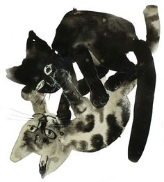 Józef Wilkon #ink #cats #illustration #drawing #art