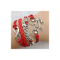 Rotita Red Letter and Bicycle Decorated Braided Bracelet ($4.53) ❤ liked on Polyvore featuring jewelry, bracelets, red, red woven bracelet, red jewelry, initial bangle, initial jewelry and woven bracelet