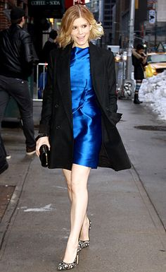 Kate Mara heads into the NYC studios of the Late Show with David Letterman on Feb. 18