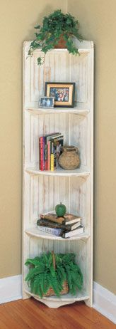 """Usually in a home, corners seem to be """"wasted space"""". Well, don't waste anymore precious space with the Smithson Tall Corner Shelf. Tall Corner Shelf, Rustic Corner Shelf, Corner Door, Farmhouse Kitchen Decor, Shabby Chic Farmhouse, Corner Bookshelves, Corner Shelves Living Room, Country Cottage Furniture, Antique Shelves"""