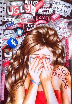 Stop Bullying ~ Kristina Webb Kristina Webb Drawings, Kristina Webb Art, Anti Bullying, Stop Cyber Bullying, Teen Bullying, Stop Bulling, Bullying Posters, Bullying Quotes, Sketch Manga