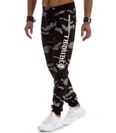 Pánske nohavice - Kokain. Pánske čierne maskáčové tepláky f0294894d7