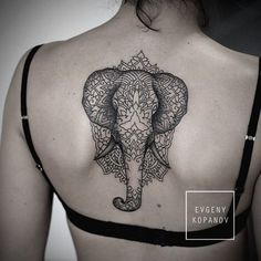 http://tattooideas247.com/mandala-elephant-tattoo/ Elephant Mandala Tattoo #Back, #Elephant, #Geometric, #Lines, #Mandala