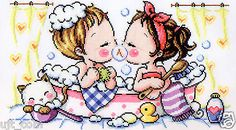 """Happy Bubble-Couple, Lover"" Counted Cross stitch chart. SODAstitch SO-G57"