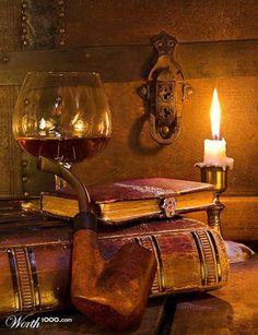 Libros y un buen vino.........