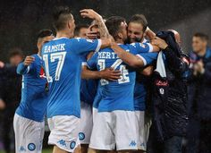 Gonzalo Higuain of Napoli celebrates after scoring his tema's 4th goal during the Serie A match between SSC Napoli and Frosinone Calcio at Stadio San Paolo on May 14, 2016 in Naples, Italy.