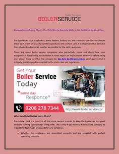 Gas Appliances Safety Check...
