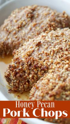 Three ingredients are all you need to make these deliciously flavorful, quick and easy Honey Pecan Baked Pork Chops. Recipes Using Pork, Veal Recipes, Real Food Recipes, Recipe Using, Healthy Recipes, Boneless Pork Chops, Baked Pork Chops, Center Cut Pork Chops, Baked Chicken Strips