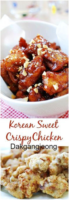 Dakgangjeong (Sweet Crispy Korean Fried Chicken) Korean fried chicken that's crispy, sweet, tangy, and spicy all in one bite! Korean Fried Chicken, Chinese Chicken, Korean Chicken Wings, Crispy Fried Chicken, Roasted Chicken, Good Food, Yummy Food, Healthy Food, Korean Dishes