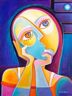 Original pintura cubista abstracto arte acrílico por MarlinaVera