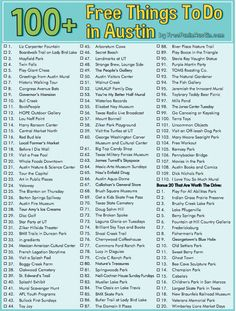 100 Things to Do in Austin Checklist! Nothing like a challenge!