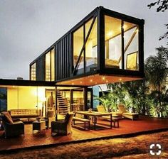 Modern Tiny House Design Ideas Living in a tiny house is not a big deal. Well, you can make your small house as the best . Prefab Container Homes, Shipping Container House Plans, Building A Container Home, Prefab Homes, Modern Tiny House, Small House Design, Modern House Design, House Windows, Glass House