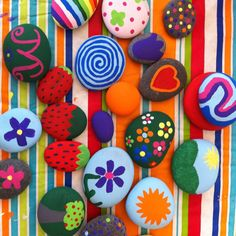Our painted rocks for our flower beds! Super fun for the kids and super cheap!