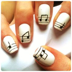 Nail Design Ideas: This is a creative way of showing your LOVE of music! It can be worn on the nails of a female musician, Music teacher, or just because you love music.....either way it is a design that will definitely strike up a conversation!