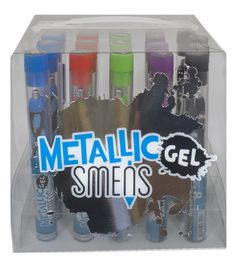 Show clickable metallic gel colored gourmet scented pens.
