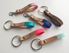 Custom Color & Personalized Leather Keychain - Hand Stamped Thick Leather Keychain with Custom Colors