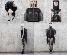 Irina Dzhus - Winter 2012 Collection Hiver.  modulable, transformable, monochrome (noir). Objet métaphysique (veut faire passer un message ), vêtement post-apocalyptique, biomorphisme et biomimétisme (carapace), accordéon