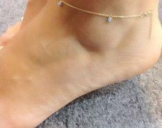 Dainty 14k Gold Evil Eye Anklet