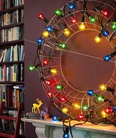 Start with a wire wreath frame and weave through strands of oversized bulbs for a cool holiday vibe.