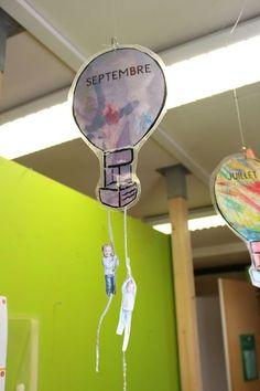 montgolfières des mois des anniversaires Birthday Display Board, Birthday Board, Decoration Creche, Petite Section, Three Year Olds, Guerrilla, Pta, Pre School, Classroom Decor