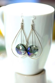 Sterling Silver Statement crystal earrings  Blue by KParDesign, $19.99. Modern jewelry