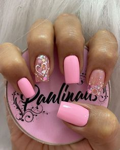 Cute Gel Nails, Pretty Nails, Nail Spa, Manicure And Pedicure, Heart Nail Designs, Semi Permanente, Heart Nails, Erika, Acrylic Nails