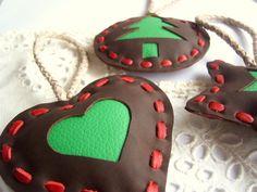 Leather Christmas Decoration to put on doors by leatherlovestosco...MXS