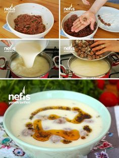 Misket Meatball Soup (with video) Recipe Preparation Meatball material is kneaded beautifully soup healthy recipes rezepte soup soup Fish Recipes, Soup Recipes, Healthy Recipes, Yummy Recipes, Turkish Kitchen, Meatball Soup, Good Food, Yummy Food, Green Beans And Tomatoes