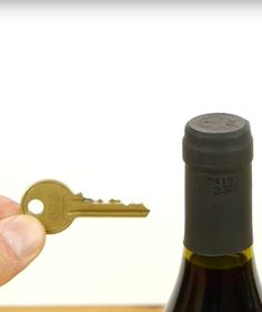 No corkscrew? Not a problem. There's nothing worse than being ready for a glass of wine and realizing you can't even open the bottle. Luckily, if you don't Wine Cellar Racks, House Keys, Can Opener, Life Hacks, Lifehacks, Useful Life Hacks