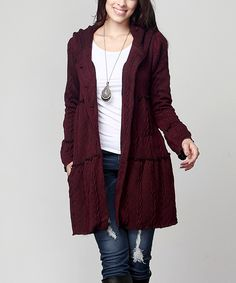 Love this Plum Cable-Knit Tiered Hooded Cardigan – Plus by Reborn Collection on #zulily! #zulilyfinds