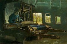Weefgetouw met wever (loom with weaver) by Vincent van Gogh (1853 - 1890)