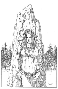 Rune STone by MitchFoust on DeviantArt - Rune STone by MitchFoust. Sexy Drawings, Pencil Art Drawings, Drawing Sketches, Fantasy Art Women, Fantasy Girl, Adult Coloring Book Pages, Fantasy Artwork, Comic Books Art, Erotic Art