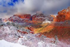 Zion National Park With Rare Snow In Winter by kevin mcneal, via Flickr