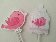 Tags para docinhos Passarinhos Pink - Toque de Papel